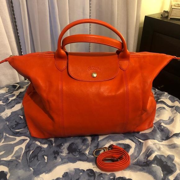 Longchamp Le Pliage Cuir Orange Large